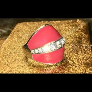Jewelry - 💍STERLING SILVER RING W/ RED ENAMEL & CZ'S💍7 1/2